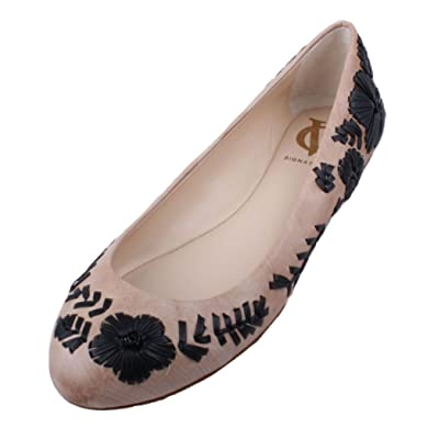 Vince Camuto Amaretto Womens Toasted Almond/Black Leather Ballet Flats