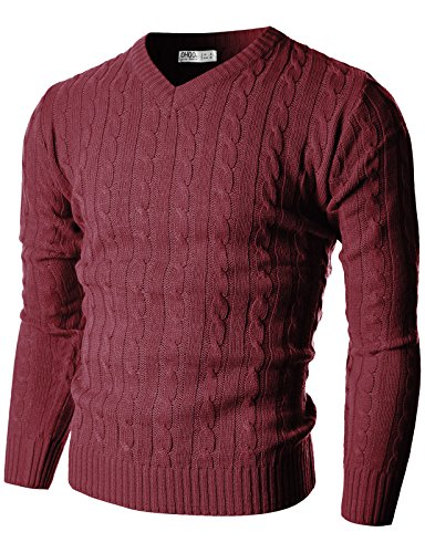 Ohoo Mens Slim Fit Cable Knit Long Sleeve V-Neck Pullover (Burgundy Cable Knit)