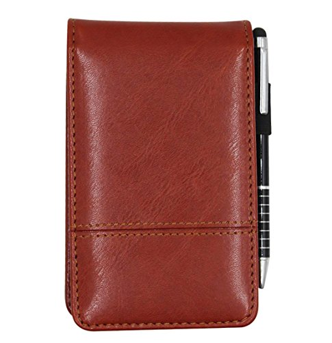 - Small Pocket PU Leather Business Notebook Cover Jotter Multifunction A7 Mini Notepad with 8 Digital Calculator,30 Pages Note Paper, 0.7 Metal Rotating Pen,and Pen Holder (Brown)