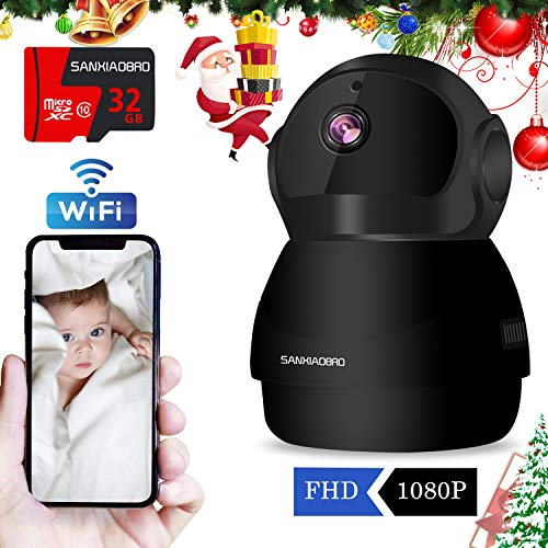 Ir Video Infrared Security Color (Home Security Camera 1080P, Include 32GB Card FHD Wireless IP Pan/Tilt/Zoom Cam,WiFi Surveillance Dome Cameras,Two-Way Audio,Motion Detection)