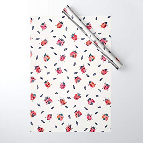 Ladybug Gift Wrap - Society6 Wrapping Paper, Pack of 5, Lucky Ladybugs & Black Leaves by Cat Coquillette