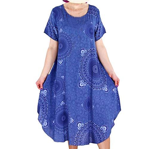 (Tantisy ♣↭♣ Women's Summer Casual Floral Print Short Sleeve Flared Midi Dress/Plus Size S-XXXXXL Blue)