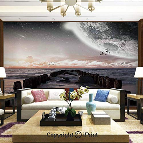 (Lionpapa_mural Nature Wall Photo Decoration Removable & Reusable Wallpaper,Moon Fantasy Planet Beach with Old Pier with Sea Waves Fiction Eclipse Sky Landscape,Home Decor - 100x144 inches)