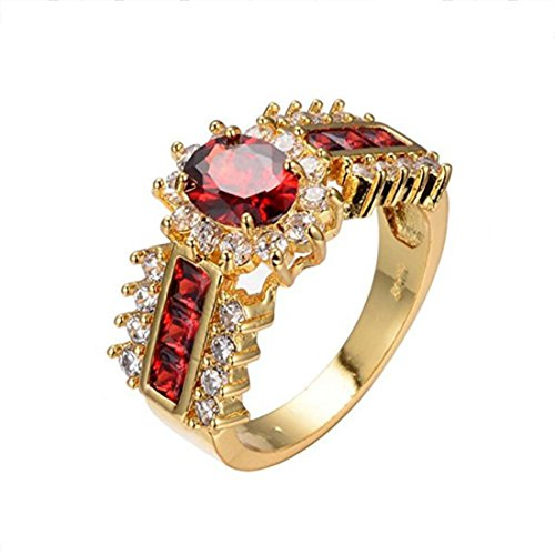 UOKOHO Red Jewelry Red Rings for Women Engagement Band 10KT Yellow Gold Filled Crystal Wedding Ring Size (Crystal Ruby Ring)