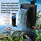 Aquarium Turtle Filter, Quiet flow Water Clean Pump Bio Filtration for Reptiles tank Low Level Waterfall Filter for Small Fish Tank Turtle Tank Shrimp Tank Amphibian Frog Crab (600L/H Aquarium filter)