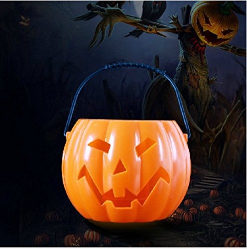 Halloween Decoration Pumpkin Candy Holder Bucket 6.2 inch with Lights Sounds Perfect for Halloween Party Birthday Favor Candy for Trick or Treat(Orange) (Easy Halloween Treats To Make At Party)