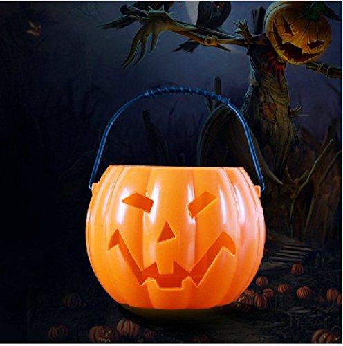 Trick Or Treat Halloween Pumpkin Candy Holder Pumpkin basket Candy Bucket With Night Light Light Flashing Music Ghost Called Pumpkin Jack-O Lantern LED Lights Make Noice( (Pumpkin barrels)