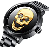 Watch,Mens Fashion Large Face Gold Skull Watch with Bracelet Link Band,Stylish Cool Stainless Steel 98 FT Waterproof Watch for Men