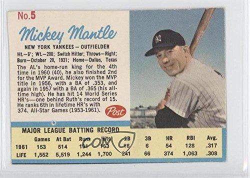 1962 Mickey Mantle (Mickey Mantle COMC REVIEWED Authentic (Baseball Card) 1962 Post #5.1)