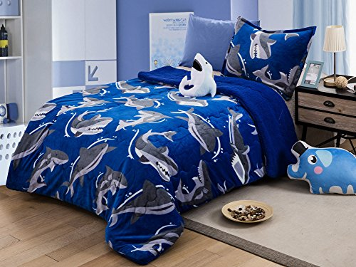 (All American Collection New Super Soft and Warm 3 Piece Borrego/Sherpa Blanket with Pillow Sham and Cushion Twin Size (Shark))