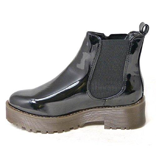 SKO'S Ladies Vintage Lace UP Zip Patent Womens Ankle High Boots Punk Combat Size 3-8 Black Patent (202) B57o3XlUK