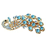 niceEshop(TM) Women's Vintage Crystal Peacock Hair Clip Head Wear-Blue +niceEshop Cable Tie