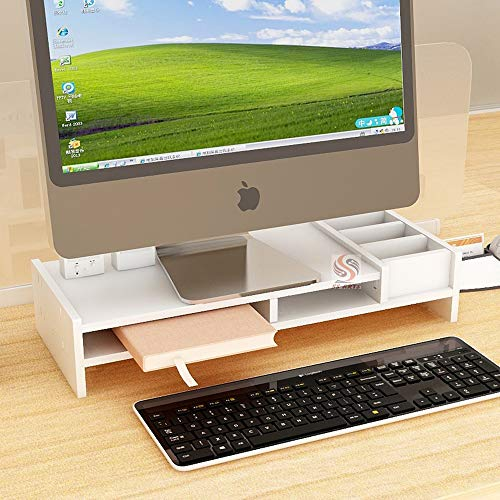 Ss Arts Engineered Wood Desk Top Computer Monitor Stand with Stationery Storage Rack