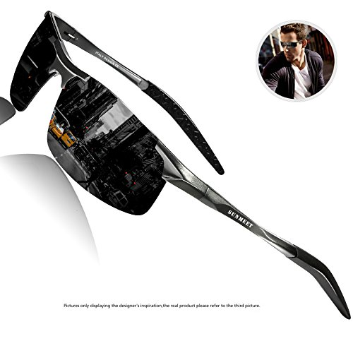 Polarized Driving Sunglasses For Men - SUNMEET Ultra Lightweight Al-Mg Golf Fishing Metal Sunglasses S1006 (Black/Gun) -