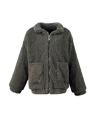 Invierno de Lovely capucha abrigo Verde prendas Fur Mujeres Coat con Otoño Idopy Faux znYPPW8