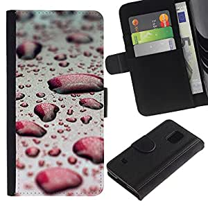 KingStore / Leather Etui en cuir / Samsung Galaxy S5 V SM-G900 / Agua Gota Red Bokeh