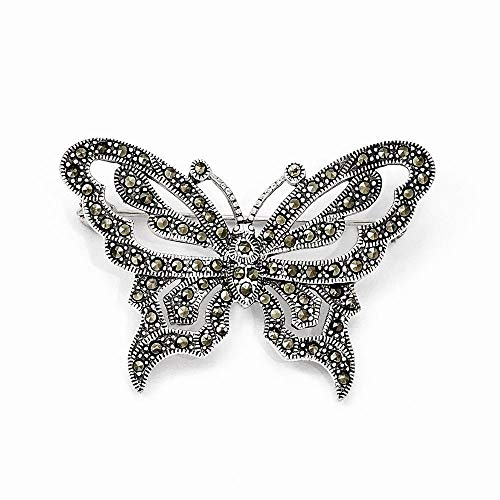 (Sterling Silver Marcasite Butterfly Pin Brooch)