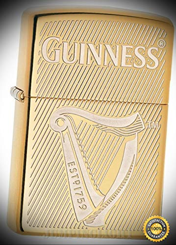(Lighter Guinness Beer Gold Color Windless 03114 - Premium Windproof Lighter Fluid (Comes Unfilled) - Made in USA!)