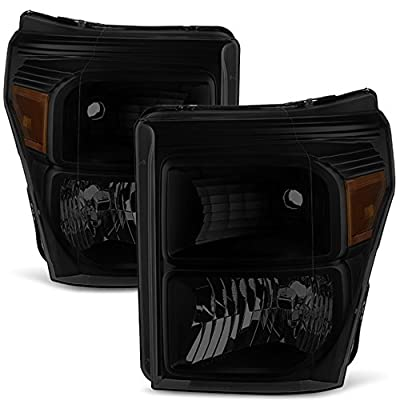 Black Smoke 11-16 Ford F250/350/450/550 Superduty Pickup Truck Headlights Lamps Direct Replacement
