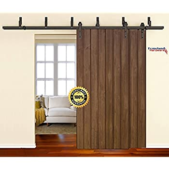 Superb [SALE] 8 Foot Heavy Duty Bypass Sliding Barn Door Hardware Kit (Powder  Coated
