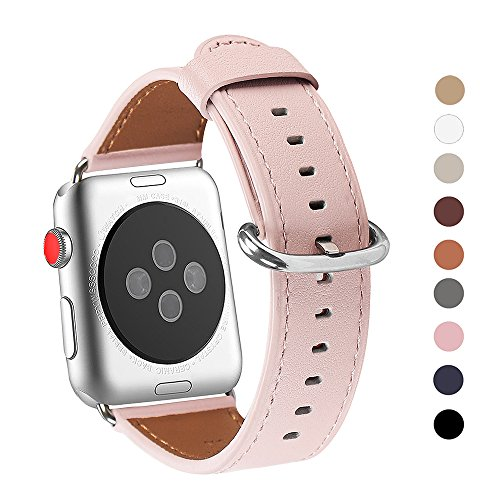Apple Watch Band 38mm, WFEAGL Retro Top Grain Genuine Leather Band Replacement Strap with Stainless Steel Clasp for iWatch Series 3,Series 2,Series 1,Sport, Edition (Pink Band+Silver Buckle)