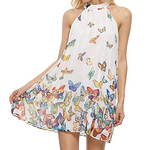 2018 New Women's Chiffon Dress, E-Scenery Summer Butterfly Sleeveless Beach Party Mini Dresses (White, ()