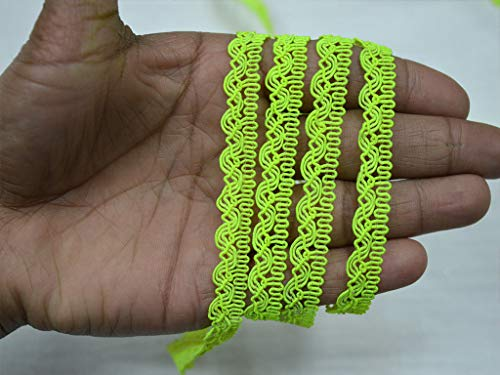 1 cm Embellishment Crafting Ribbon Costume Sewing Laces Braided Wholesale Cord Scroll Braid Gimp Neon Green Decorative Home Decor Fancy Gypsy Bohemian Ethnic Trim by 9 Yard