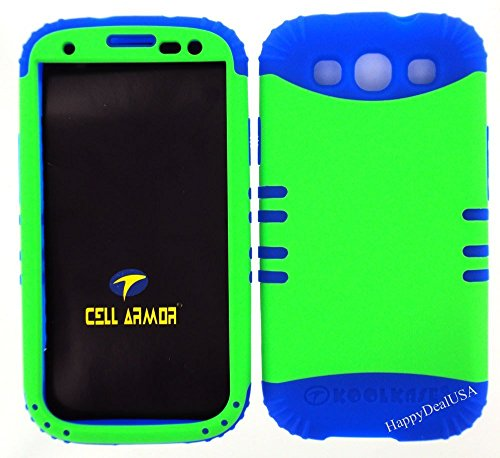 Lime Green Snap On and Blue Silicone Hybrid 2 in 1 Case Hard Cover Proctector for Samsung Galaxy S3, I9300, I747, SIII (Verizon, Sprint, T-Mobile, AT&T) (Samsung Galaxy S3 Verizon Lcd)