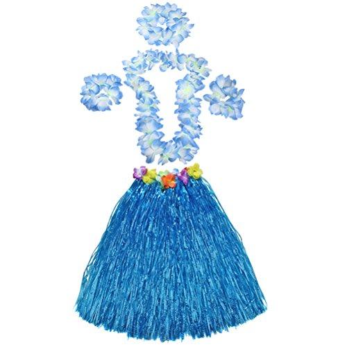 Hawaiian Hula Grass Skirt Dancer Adult Luau Costume 23.6 inch Long w/Large Leis Flower Headband Necklace Bracelets (Blue)