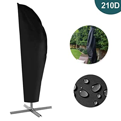 HOMEYA Patio Umbrella Cover, 210D Waterproof Outdoor Offset Umbrella Covers with Zipper for 9ft - 13ft Garden Parasol Cantilever Umbrella Canopy Water Resistant Fabric Market Umbrellas Cover : Garden & Outdoor