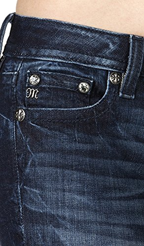 Miss Me - Womens Dark Wash Embroidered Cuffed Skinny Jeans: Amazon.co.uk:  Clothing