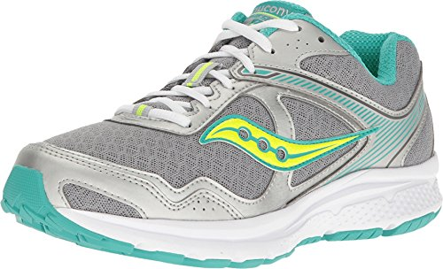 Saucony Women's Grid Cohesion 10 Road Running Shoe,Grey/Teal/Citron,US 9.5 W