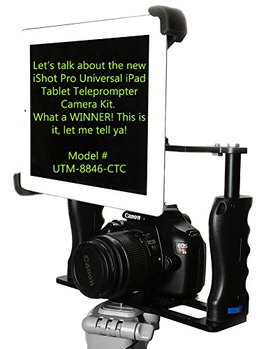 iShot G10 Pro Universal 360° Adjustable iPad Tablet Premium Teleprompter Camera Cage Kit + Free Smartphone Mount Clip – Works with All Camera Tripods – USA COMPANY – Fits iPad and 7″-11″ inch Tablets