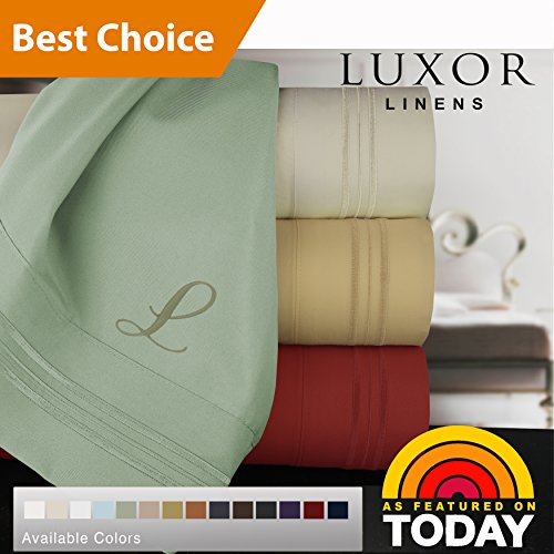 Bed Bella Linens (Luxor Linens Bamboo Queen Sheets - 4pc set (2 Pillowcases, 1 Fitted Sheet, 1 Flat Sheet) - 18 inch Deep Pockets – Premium Hotel Quality, Soft, Luxurious & Hypoallergenic (Queen, Sky))