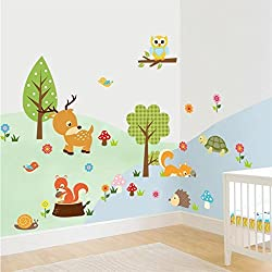Cute Cartoon Natural Wildlife Wall Decals Forest Animals Wall stickers Murals Owls, Deer, Fox Peel & Stick for Baby Children's Playroom Removable DIY Arts Crafts Decor for Nursery room (Multicolor)