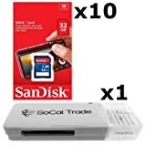 10 PACK - SanDisk 32GB SD HC Class 4 Secure Digital High Speed SDHC Flash Memory Card SDSDB-032G 32G 32 GB GIGS (S.B32.RTx10.562) LOT OF 10 with USB SoCal Trade© SCT SD Memory Card Reader - Retail Packaging
