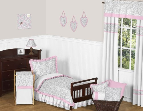 Pink and Gray Kenya Bed Skirt for Toddler Bedding Sets by Sweet Jojo Designs