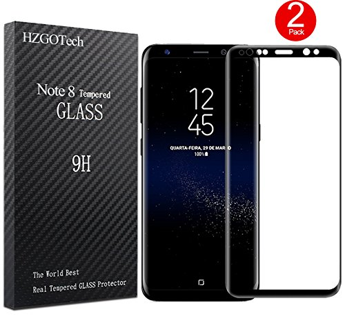 Galaxy Note 8 Screen Protector, HZGOTech Full Coverage / Bubble Free / Anti-Scratch / HD Clear 3D Curved Premium Tempered Glass Screen Protector Film for Samsung Galaxy Note 8 2017 - Black