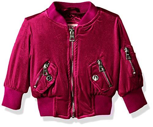 (Urban Republic Baby Girls Stretch Velvet Jacket, Berry, 24M)
