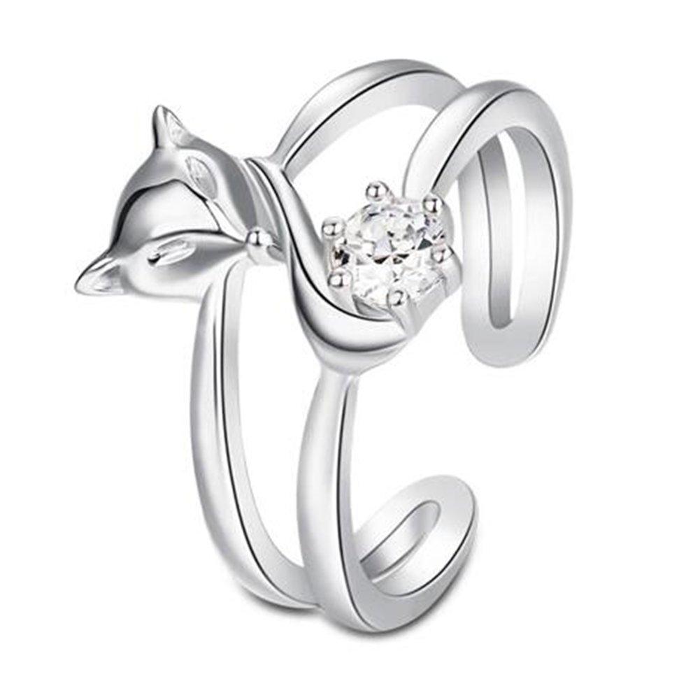 Impression 1pcs Anelli Anello volpe mese Anello di diamanti di moda anello di vetro Girl Accessori della gioielli festa di San Valentino regali di matrimonio anello aperto Silver YXYP