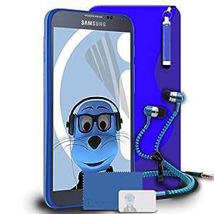iTALKonline Samsung Galaxy Alpha SM-S line Wave G850M TPU de la caja del gel brillante protección de piel con cobertura Jelly 3 capas la protector de pantalla LCD, retráctiles Mini lápiz capacitivo y cierre de auriculares 3,5 mm, manos libres con Mic color blanco