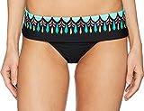 Trina Turk Women's Banded Hipster Bikini Swimsuit Bottom, Black/Sunburst Print, 12