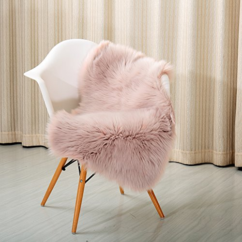 """reafort high pile super soft faux sheepskin rug, chair cover, sofa cover 20inx36in (20""""x 36"""", pink)"""