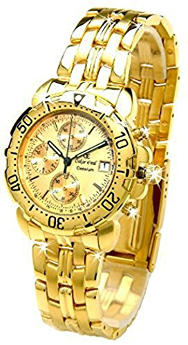 Oskar Emil Gents Caesium 1119G 23K Gold Chronograph Sports Watch with Gold Dial RRP $495