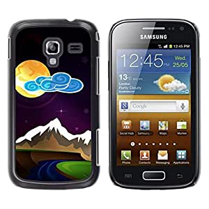 Be Good Phone Accessory // Dura Cáscara cubierta Protectora Caso Carcasa Funda de Protección para Samsung Galaxy Ace 2 I8160 Ace II X S7560M // Modern Painting Moon Night Mountains S