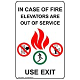 ComplianceSigns Vinyl Exit - Emergency / Fire label, 8 x 5 in. Self-Adhesive - Multi