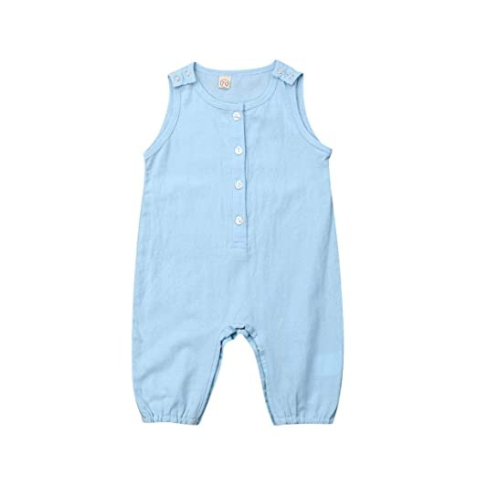 64394d4fe xueliangdedianpu Unisex Baby Summer Rompers Sleeveless Button One-Piece  Solid Color Jumpsuit for Infant Toddlers