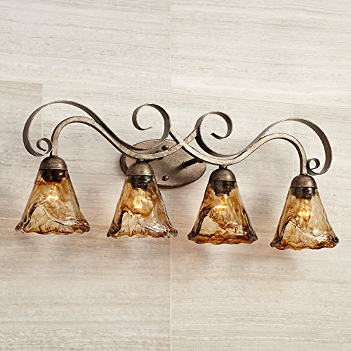 Amber Scroll 29 1/2'' Wide Art Glass and Bronze Bath Light by Franklin Iron Works (Image #1)