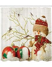 ABAKUHAUS Kerstmis- Douchegordijn, Kleurrijke Jolly Times, stoffen badkamerdecoratieset met haakjes, 175 x 200 cm, Veelkleurig
