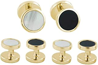 product image for David Donahue Gold Plated Sterling Silver Onyx and Mother of Pearl Reversible Stud Set (SS892313)